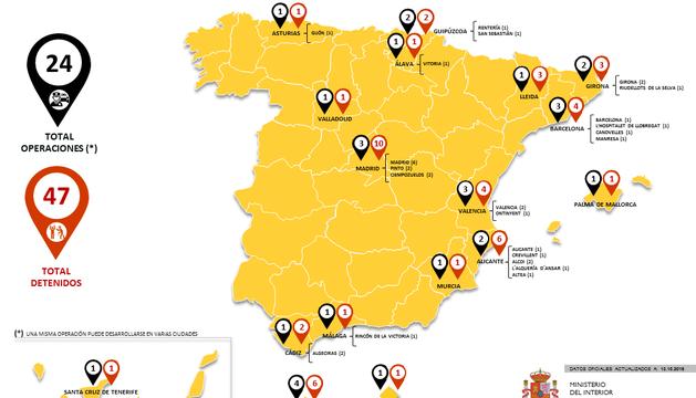 Mapa con el número de operaciones y de detenidos yihadistas en España en 2016