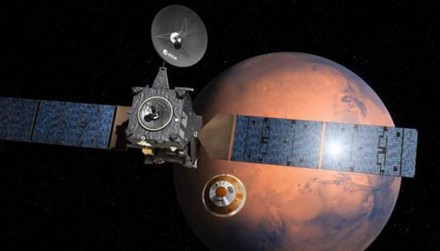 El módulo Schiaparelli mientras se acerca al planeta Marte.