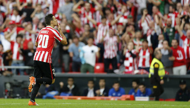 Aritz Aduriz celebra el gol marcado a la Real Sociedad en el pasado partido de LaLiga