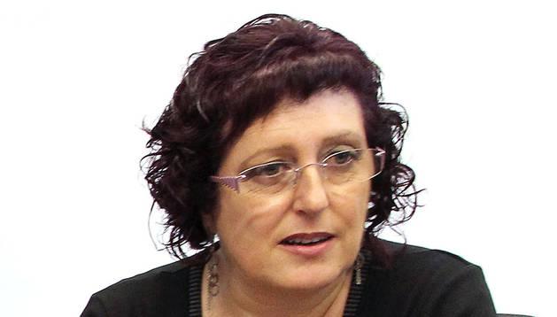 La responsable de Administración Foral de LAB en Navarra, Isabel Artieda.
