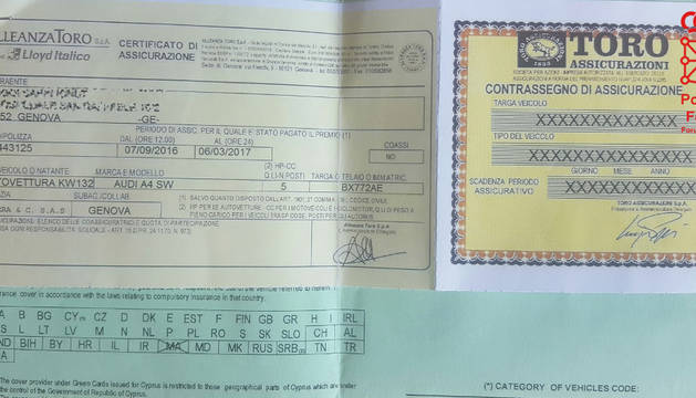 Imagen del documento falso