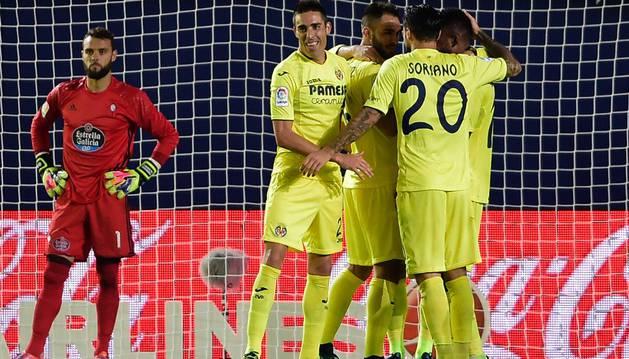Los jugadores del Villarreal celebran uno de los goles marcados al Celta en la pasada jornada de Liga