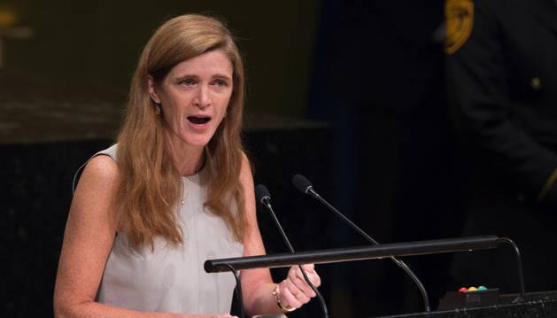 Imagen de la embajadora de Estados Unidos ante la ONU, Samantha Power.