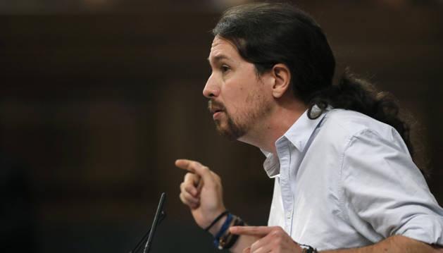 El secretario general de Podemos, Pablo Iglesias, durante su intervención en la segunda jornada del debate de investidura.