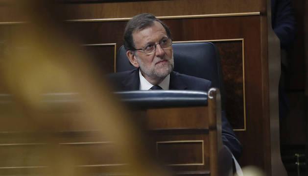 Imagen de Rajoy, en su escaño del Congreso.