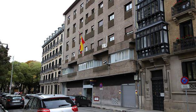 Exterior de la comisaría de la Policía Nacional de Pamplona.