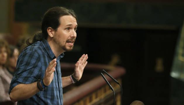 El líder de Podemos, Pablo Iglesias durante su intervención en el debate de investidura en el Congreso.