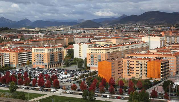 Vista panorámica de Pamplona desde el aire.
