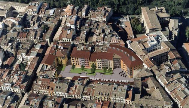 En el centro, la plaza Santa Ana según el proyecto que existe para ella, una vez demolida la nave de Muebles Apesteguía que ahora la corta en dos.