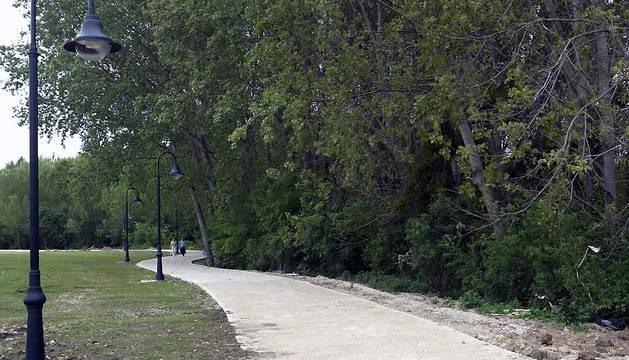 Un tramo del parque fluvial de la comarca de Pamplona.