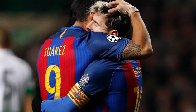 Messi y Suárez, en Celtic Park.