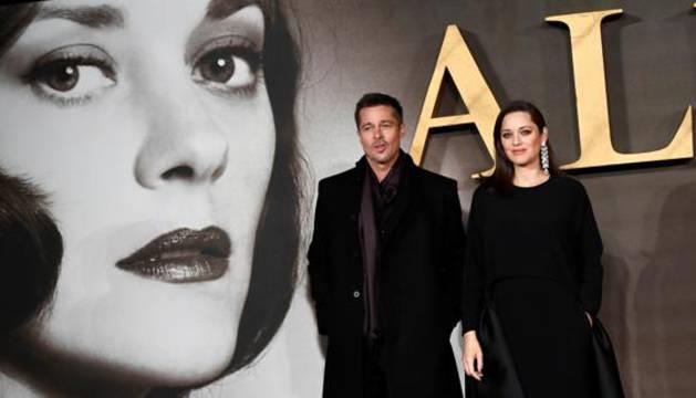 Brad Pitt y Marion Cotillard, en la presentación de 'Aliados'.