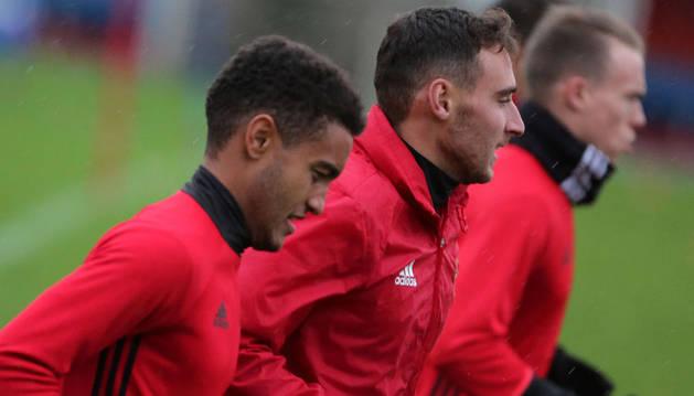 Otegui, Imanol García y Clerc durante un entrenamiento de la pasada semana