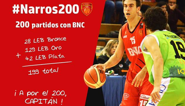 Iñaki Narros cumplirá 200 partidos con la camiseta de Basket Navarra Club.