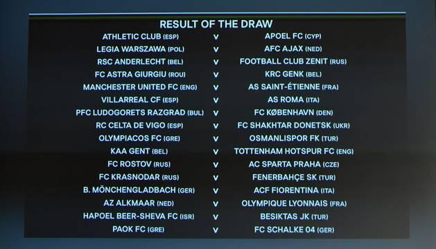 Imagen de la pantalla con los emparejamientos para dieciseisavos de Europa League