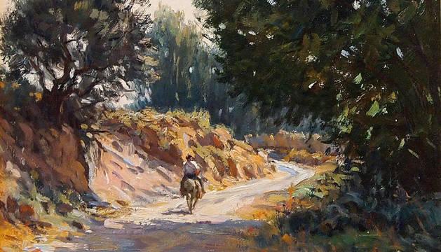 Obra titulada 'Camino a Fitero', uno de los paisajes que forman parte de la exposición de César Muñoz Sola.