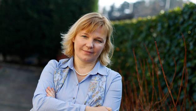La doctora  rusa Irina Matveikova, que vive y trabaja en Madrid, en el Colegio de Médicos de Pamplona. Impartió una conferencia en el  congreso de Educación emocional organizado por Padres Formados.