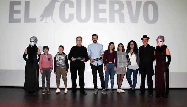 Los ganadores en las distintas categorías del certamen de cortometrajes de Cintruénigo.
