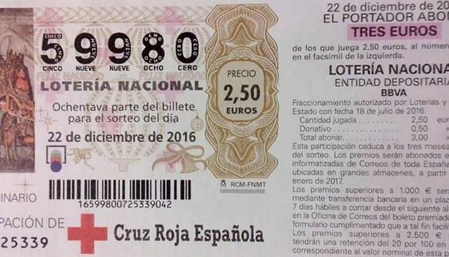 Imagen de una participación del número 59.980. El comprador pagaba 3 euros y jugaba 2,50 euros.