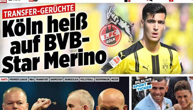 Portada de la edición digital de deportes del Bild de ayer con la noticia de Merino como principal.