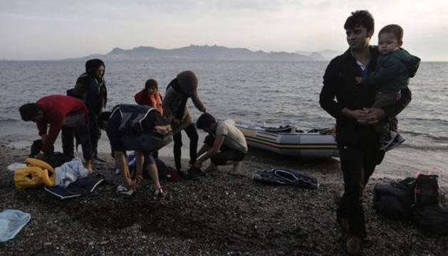 Refugiados sirios en las costas de Grecia.