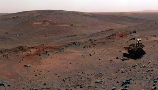 Un róver sobre la superficie de Marte.