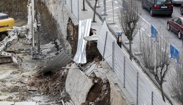 Caída del talud en la calle Amaya de Pamplona