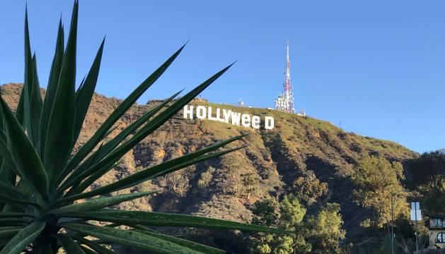 Un individuo cambia las letras del famoso letrero blanco de Hollywood.
