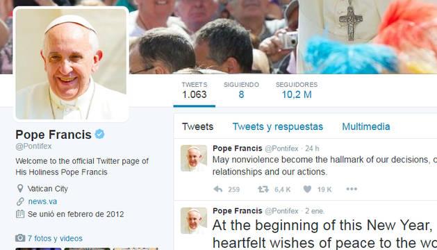 Cuenta de Twitter del Papa Francisco.
