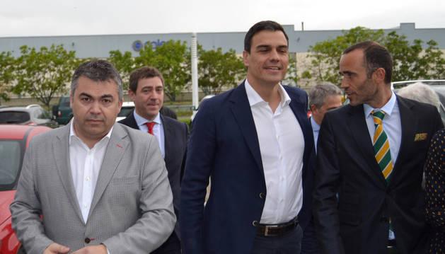 Imagen de Cerdán con Sánchez, en una visita a Navarra.