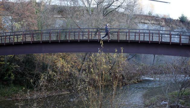Imagen de una pasarela sobre el río Arga en Burlada, el corredor del agua por donde entran la mayoría de las especies invasoras en la comarca.