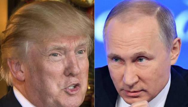 Combo de imágenes de Donald Trump y Vladimir Putin.