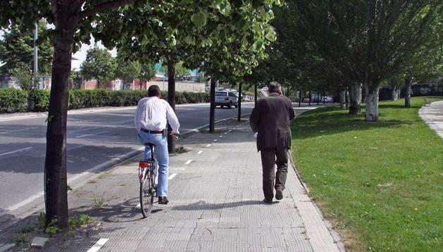 Varios carriles bici conviven en Pamplona