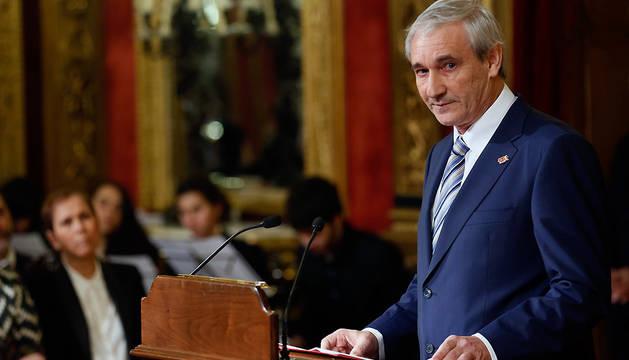El consejero de Hacienda y Política Financiera del Gobierno de Navarra, Mikel Aranburu, durante el acto con motivo de l 25 aniversario del Convenio Económico, en enero de 2016.