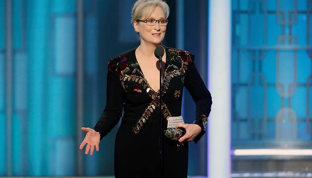 Meryl Streep, que recibió el premio honorífico Cecil B. DeMille durante la gala de los Globos de Oro, pronuncia su combativo discurso.