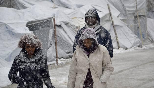 Nevada en el campo de refugiados de Lesbos