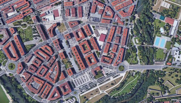 Imagen aérea del barrio de la Rochapea.