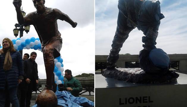 La estatua de Messi, antes y después del destrozo.