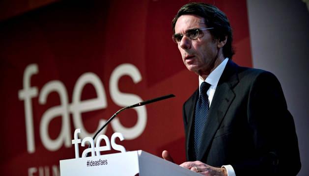 Foto del expresidente del Gobierno José María Aznar durante la clausura del acto