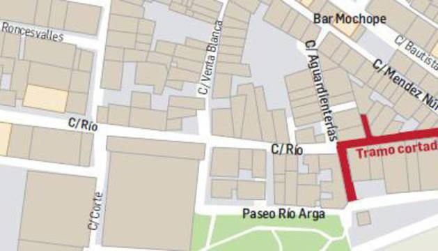 Mapa con las alteraciones de tráfico en Peralta.