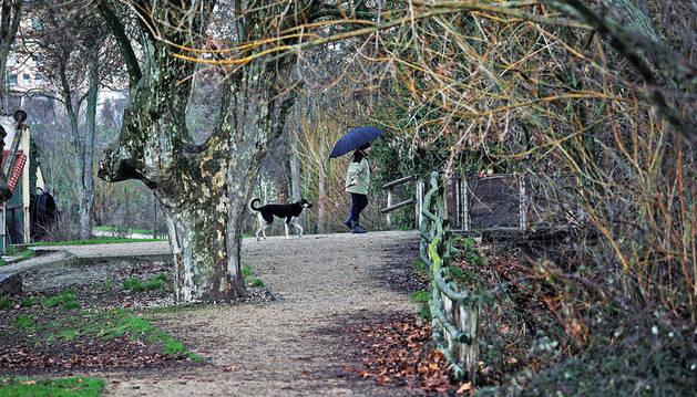 Un hombre pasea a su perro en los márgenes del río en el Parque de Aranzadi.