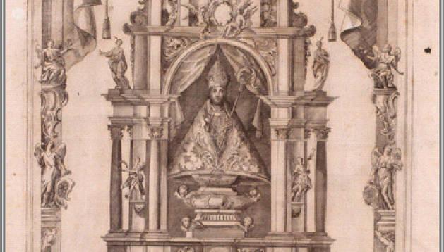 El altar de San Fermín, en un grabado de 1765.fototeca del archivo municipal de pamplona