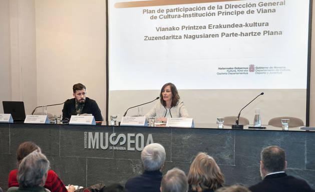 Imagen de la consejera en la sesión de retorno del Plan de participación celebrada esta mañana en el Museo de Navarra.