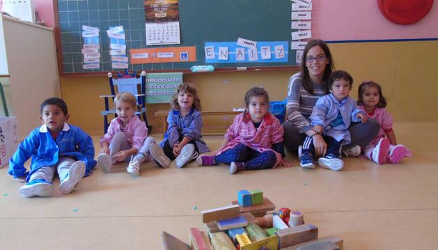 Alumnos del Colegio  Nuestra  Señora del Rosario, de Sartaguda, uno de los 14 centros que ya imparten jornada continua.