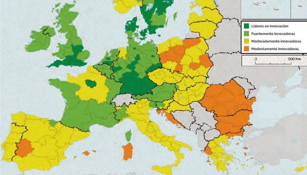 foto del mapa de las regiones innovadoras de la Unión Europea