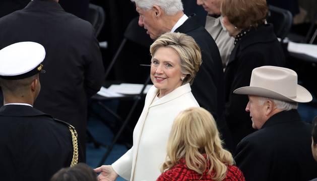Hillary Clinton, a su llegada al Capitolio a la investidura de Donald Trump.