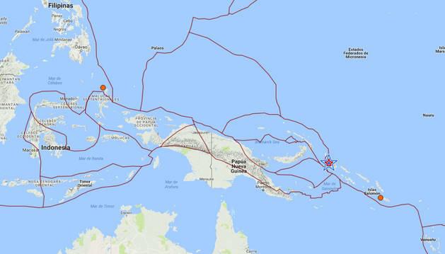 Una estrella marca el epicentro del seísmo en Papúa y las islas Salomón.