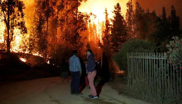 Uno de los incendios en Chile.