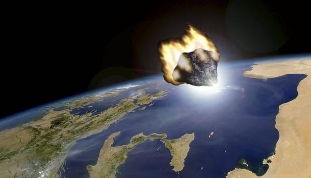 Recreación de un meteorito llegando a la Tierra.