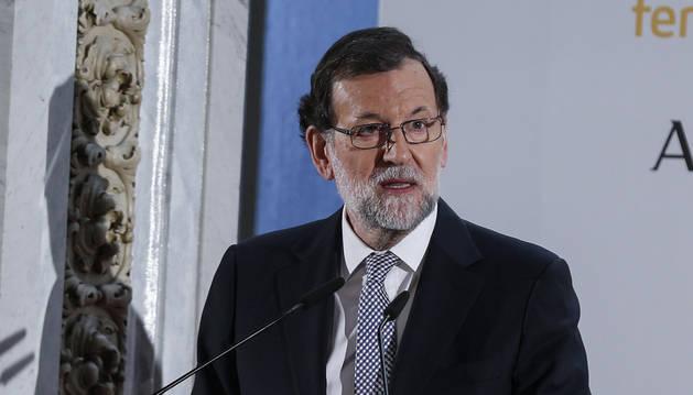 Foto del presidente del Gobierno, Mariano Rajoy, durante su intervención en el Foro ABC.
